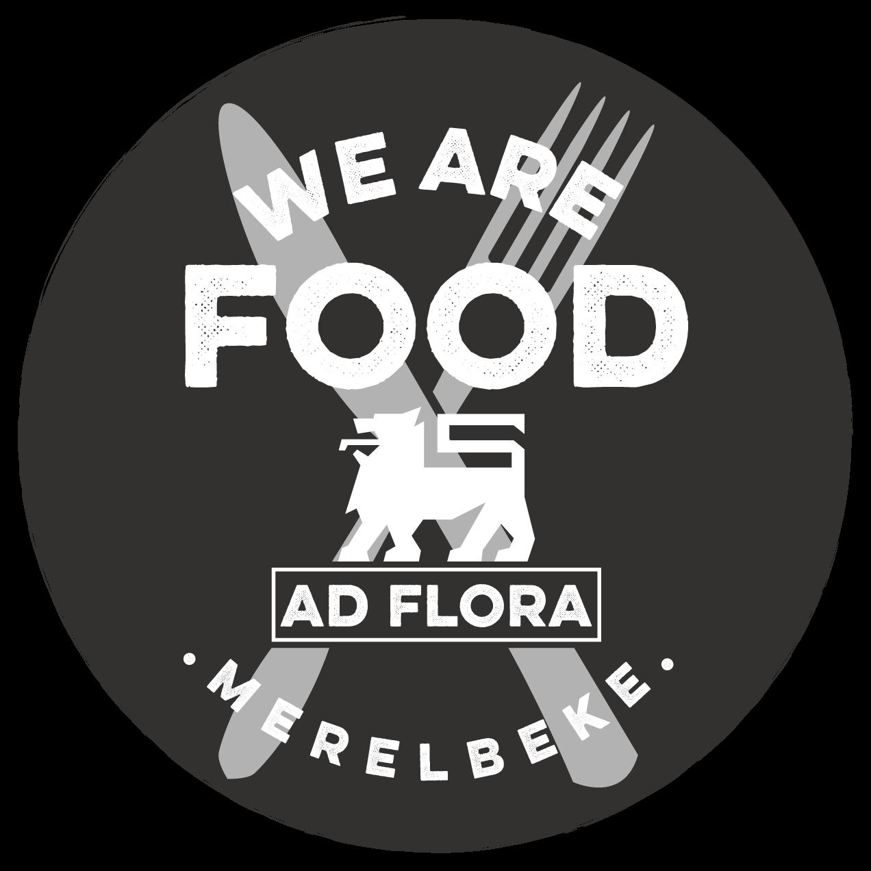 Logo Delhaize AD Flora Merelbeke - AD in het groot gescheven met Flora daaronder vermeldt