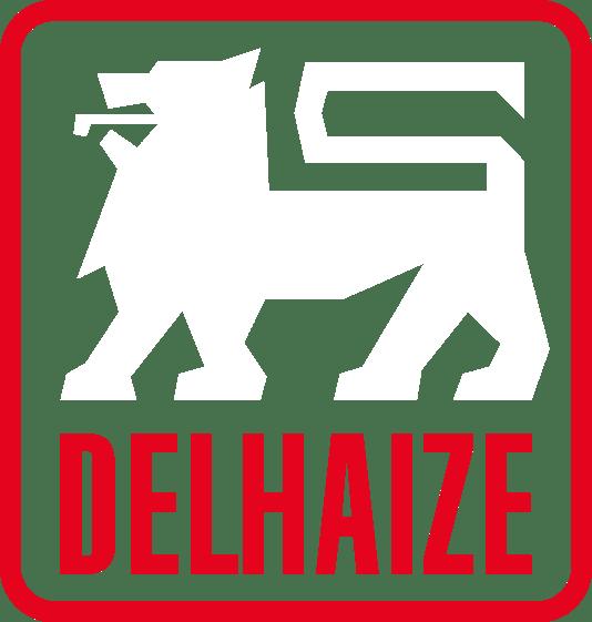 Logo Delhaize AD Flora Merelbeke - AD in het groot gescreven, witte kleuren